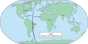 Mappa Trattato Tordesillas Raya Brasile