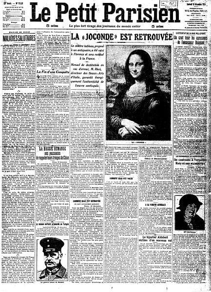 Prima pagina di un giornale francese sul ritrovamento della Gioconda
