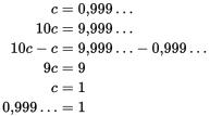 Un altro metodo per provare l'uguaglianza 1 = 0,999...