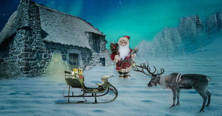Illustrazione con casa di babbo natale, slitta e renna
