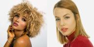 Modella con capelli ricci e capelli lisci