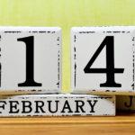 """Scritta """"14 Febbraio"""" realizzata con cubi di legno"""