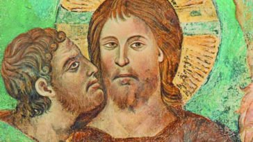 Cimabue con bacio del traditore Giuda a Gesù Cristo, quadro