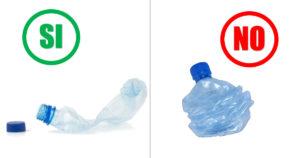 Come riciclare in modo esatto e in modo errato le bottiglie di plastica pet