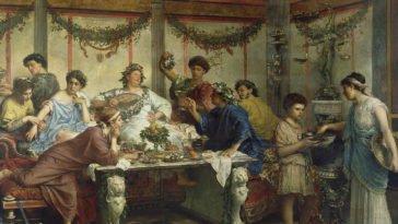 Antichi Romani che banchettano